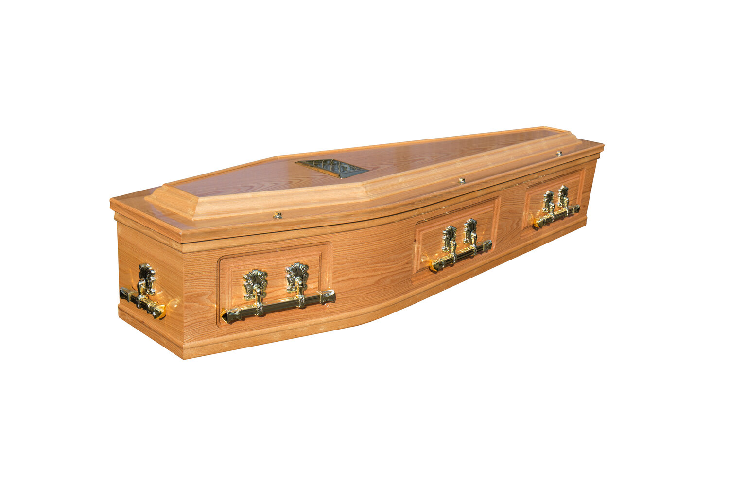 Waxed Raised Lid Panelled Side Cremation Coffin