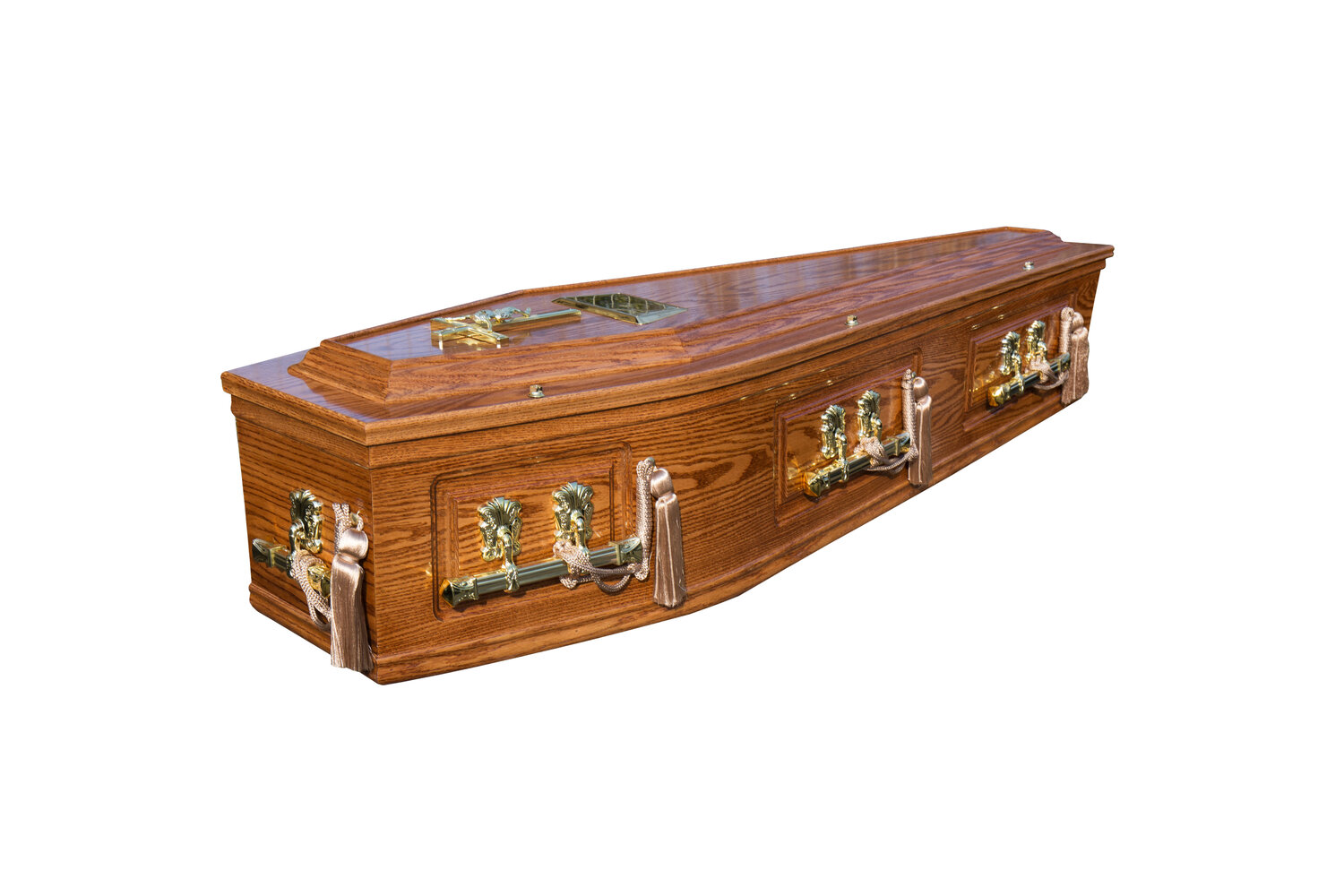 Honey Solid Lid Panelled Side Burial Coffin